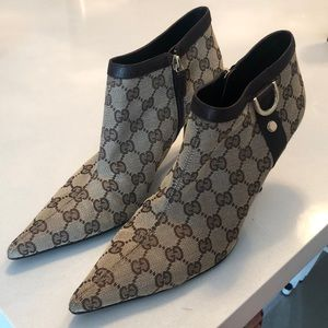 Gucci Canvas Heeled Booties